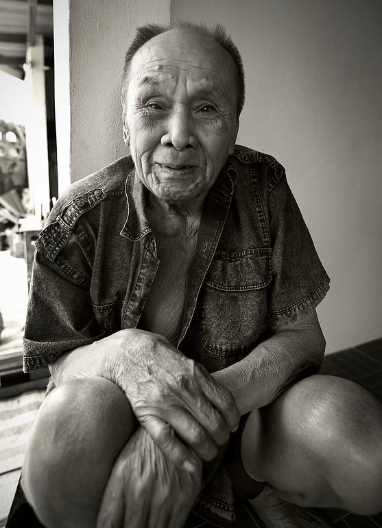 sepia-toned grandpa