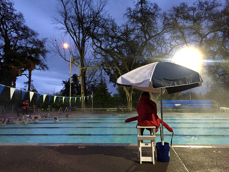 rain swimming