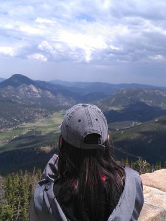 RESESS Intern Beth Schaeffer overlooking the scenery during the Rocky Mountain National Park Field Trip. June 15, 2018 (Photo: Jordan Wachholtz).