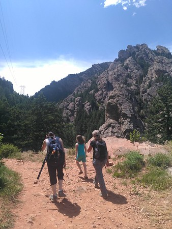 RESESS interns Beth (left) and Adi (right) during a hike on Bear Canyon Trail with Beth's daughter, center. June 10, 2018 (Photo: Jordan Wachholtz).