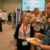 Haley Snyder May, a 2018 RESESS intern, chats with research mentor Colin during the end of summer poster session.  August 2, 2018.  Boulder, Colorado.  (Photo/Daniel Zietlow, UNAVCO)
