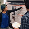Gabriela Fernandez, a 2018 RESESS intern, discusses her work at the end of summer poster session.  August 2, 2018.  Boulder, Colorado.  (Photo/Daniel Zietlow, UNAVCO)