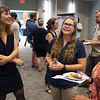 2018 RESESS intern Teodora chats about her summer research at the end of summer poster session.  August 2, 2018.  Boulder, Colorado.  (Photo/Daniel Zietlow, UNAVCO)