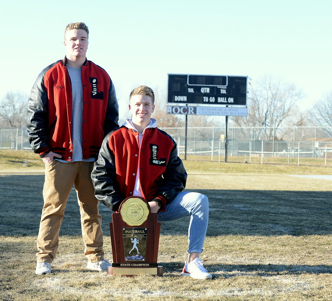 Michael Deschene (left) and Zach Weinmaster of the 4A state champion Loveland Indians lead the 2018 RH All-Area football team as the defensive and offensive players of the year, respectively. (Mike Brohard/Loveland Reporter-Herald)