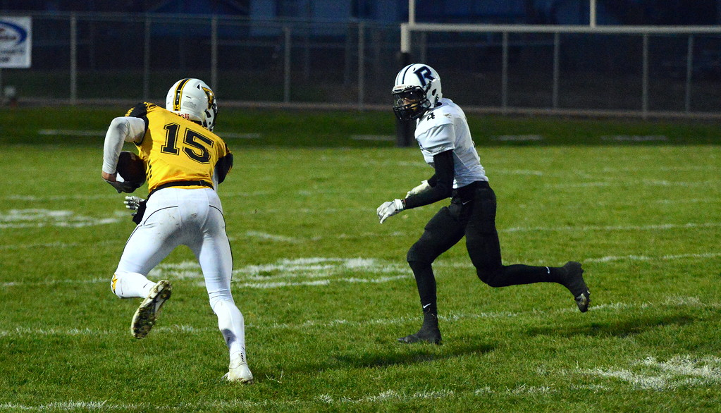 . Thompson Valley\'s Trey Kreikemeier (15). (Mike Brohard/Loveland Reporter-Herald)