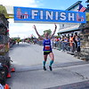 Women's winner Sarah Mulcahy shaved almost 8 minutes off her own  marathon course record. 2018 Bay of Fundy International Marathon, Half-marathon, Ultra-marathon, and 10K. Photo: Goodman/Van Riper Photography.