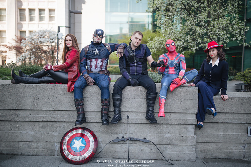 Scarlet Witch is @a2cosplay Captain America is @TheOmnus Hawkeye is @J4Props Spiderman is @emeraldcityavenger Peggy Carter is @amelia.cosplays
