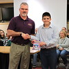 "Marc Schefsky is presented with ""S.M.A.R.T.S."" by Corban Shirey from Lycoming Valley Intermediate School."