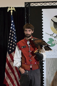 shumskis06-Environmental_Educator_Nathan_Thoele_doing_a_demonstration_routine_with_a_Harris's_Hawk