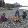 Eileen Reemtsma, Kathy Mattison, Norma Ray roasting hotdogs to perfection.