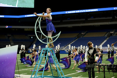 """The Vandegrift High School marching band performs its show, """"Rise"""" in the preliminary round of the UIL State Marching Band competition Monday, Nov. 5, 2018."""