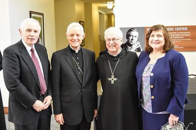 His Eminence Donald Cardinal Wuerl blessed and dedicated the statues of Saint John Paul II and Saint John XXIII and Saint Vincent Archabbey Basilica on Sunday, April 8, 2018. Concelebrating was his Excellency Bishop Edward C. Malesic of the Diocese of Greensburg, Archbbot Douglas R. Nowicki, O.S.B. of Saint Vincent Archabbey and Abbot Elias Lorenzo, Abbot-President of the American Cassinese Congregation.