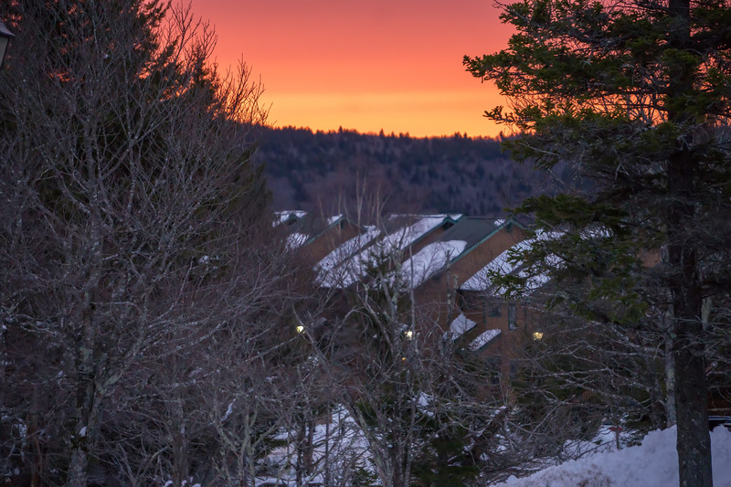 winter landscape with sunrise at snowshoe mountain wv
