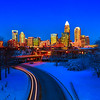 Charlotte nc usa skyline during and after winter snow storm in january