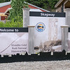 welcome to town of skagway alaska sign