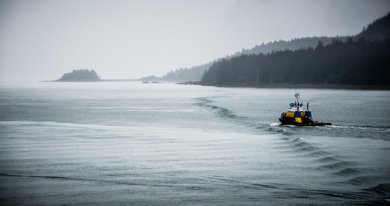 Commercial crab fishing vessel near Juneau, Alaska