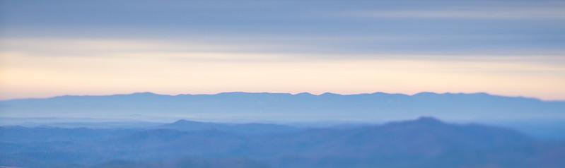 beautiful pastel colors sunrise in blue ridge mountains