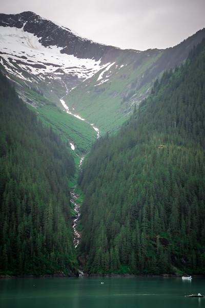 tracy arm fjord scenery in june in alaska