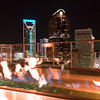 charlotte north carolina skyline view at night from roof top restaurant