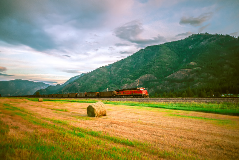 Montana landscapes with heavy train engine locomotive passing
