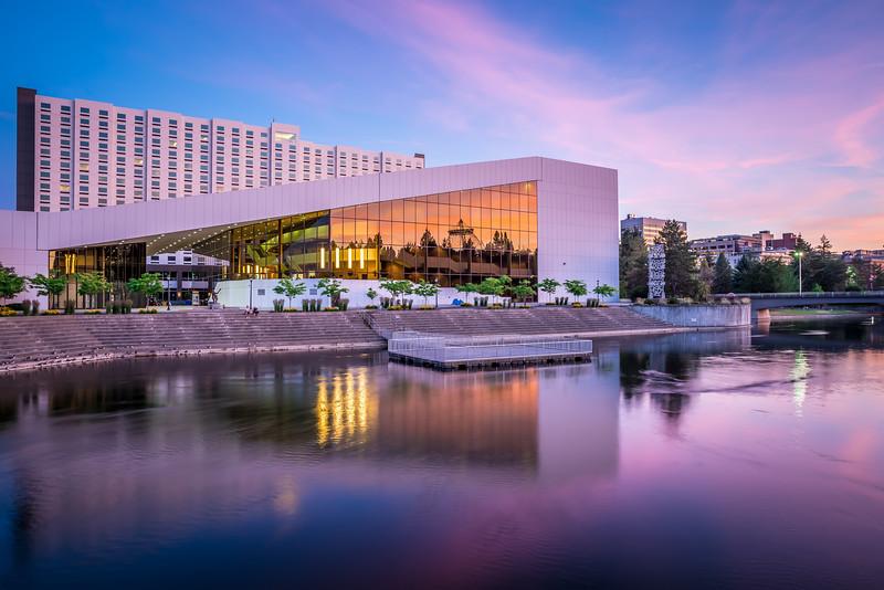 spokane washington city skyline and convention center