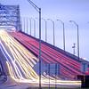 Harbor bridge in Corpus Christi Texas with evening traffic