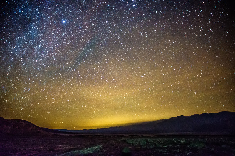 Night time and dark sky over death valley national park