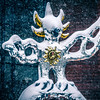 firebird statue made of glass during snow storm in upton charlotte
