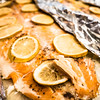 baked salmon with lemon on foil
