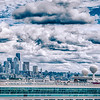 cloudy morning over seattle washington skyline