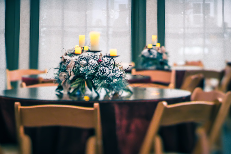 dinner tables ready for festivities at christmas and holiday times