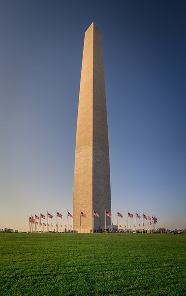 washington dc memorial tower monument at sunset