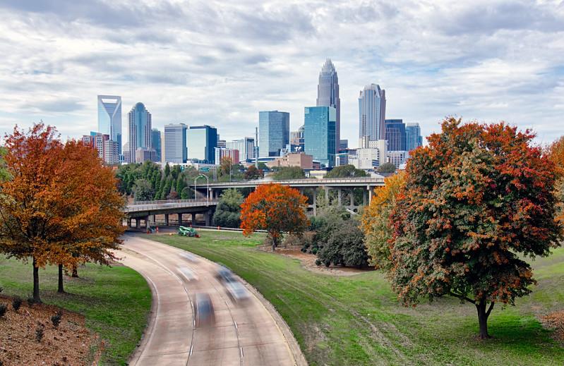 charlotte city north carolina cityscape during autumn season