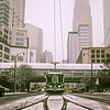 streetcar waiting for passengers in snowstrom in uptown charlotte north carolina