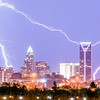 lightning strikes over charlotte north carolina skyline