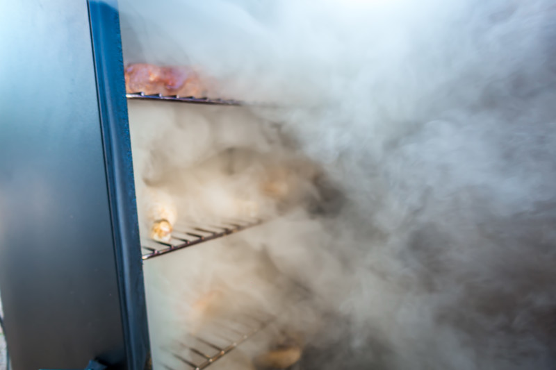smoke and vapor coming out of electric smoker