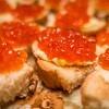 red salmon caviar on bread and butter ready to eat snacks
