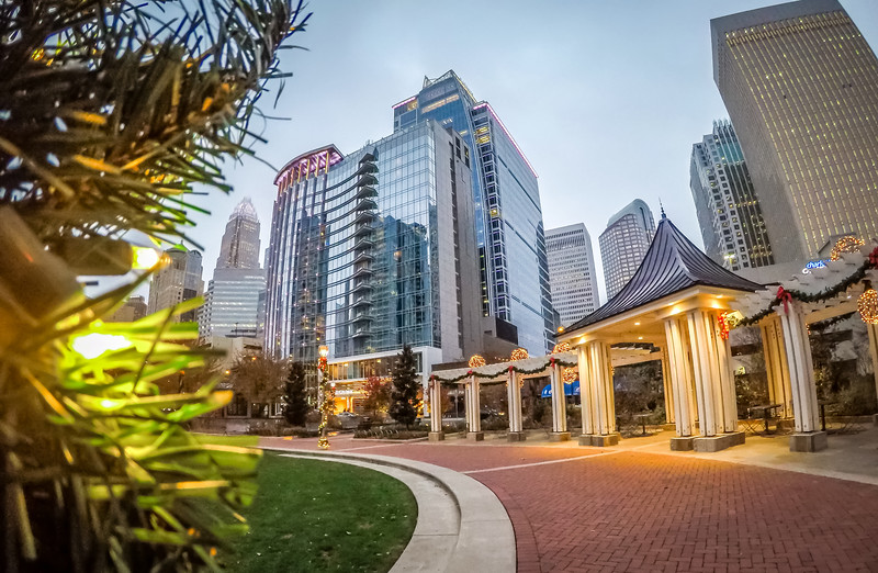 early morning in charlotte nc near romare bearden park