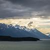 mud bay alaska mountain range at sunset