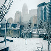 rare wintry mix around charlotte city streets in north carolina