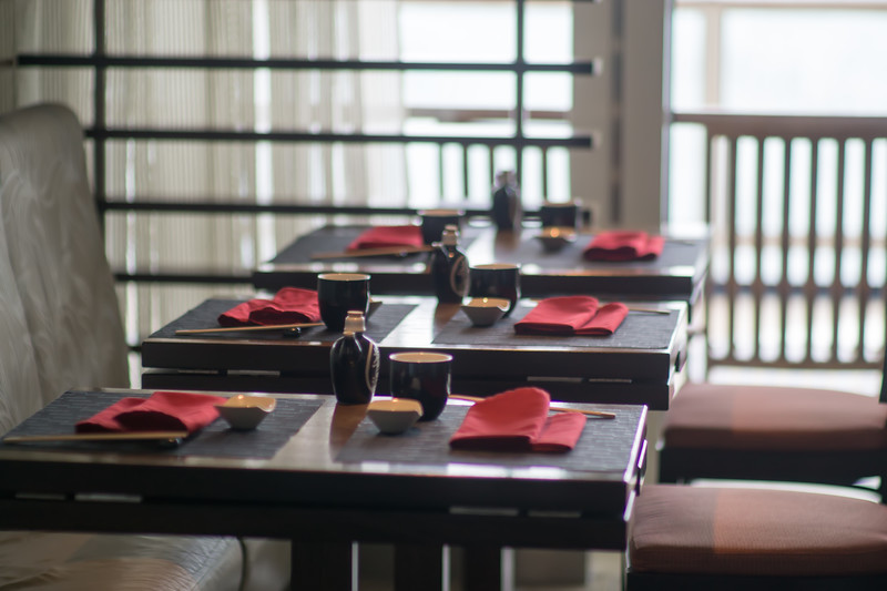 fine restaurant dinner tables set up before opening for customers