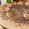 chocolate coffee tiramisu cake on dinner table for a birthday