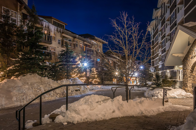night time in mountain village during winter