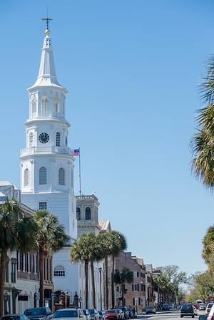 St. Michael Church in historic downtown of Charleston South Carolina