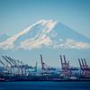 Seattle harbour and Mount Rainier
