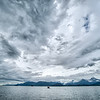 abstract cloudy waterscape AND MOUNTAIN RANGE IN ALASKA