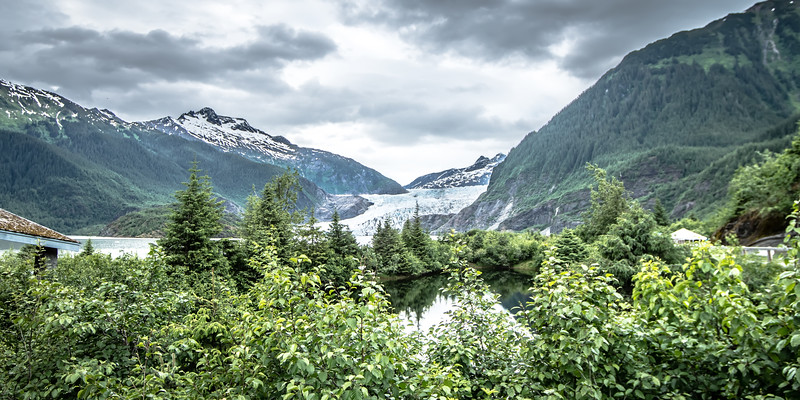 scenery around mendenhall glacier park in juneau alaska