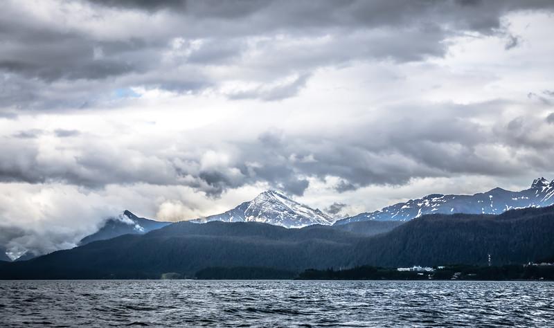 mountain range scenes in june around juneau alaska