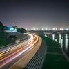 Rosslyn Skyline, Theodore Rosevelt Memorial Bridge and traffic trails on Ohio Drive
