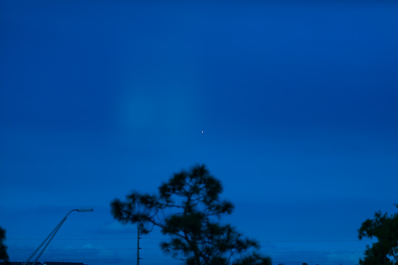 Falcon Heavy  Launch west of Orlando  20+ Miles away 200mm lens 8:25 at night